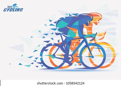 Cycling race stylized background with motion color effects of tirangle splints
