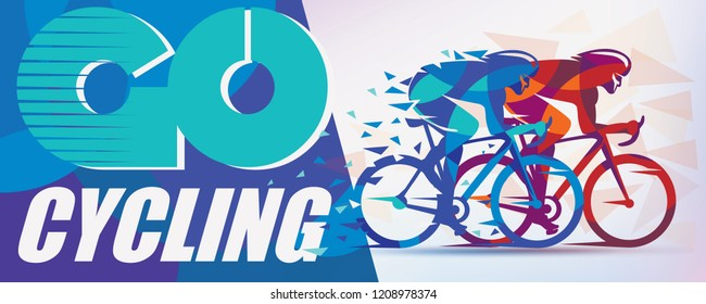 Cycling race stylized background with motion color effects of triangle splints, poster template
