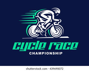 Cycling race Vector logo illustration, emblem design.