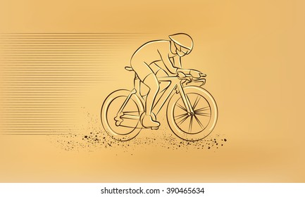 Cycling race. Vector retro drawing illustration.
