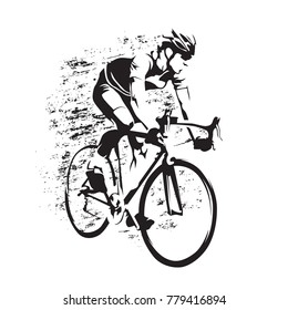 Cycling. Road cyclist on his bike, abstract grungy vector silhouette