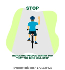 Cycling rules for traffic safety, stop bicycle hand signals.