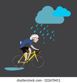 Cycling sport bicycle man in the rain