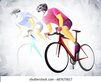 Cycling sport, cyclist red vector