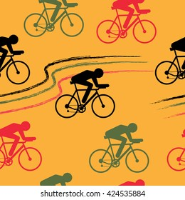 Cycling sport vector seamless pattern - figure of cyclist on bicycle on orange background