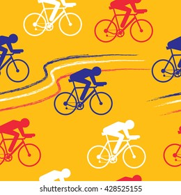Cycling sport vector seamless pattern - figure of cyclist on bicycle. Cycle sport background with sportsmen in colors of France national flag