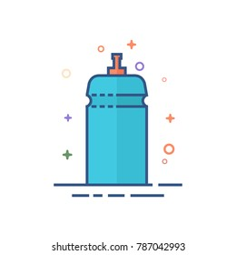 Cycling water bottle icon in outlined flat color style. Vector illustration.