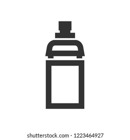 Cycling water bottle icon in thick outline style. Black and white monochrome vector illustration.