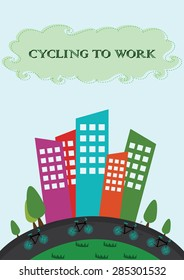 Cycling to work. Vector illustration