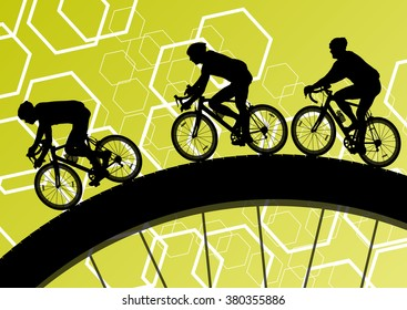 Cyclist active man bicycle riders in abstract sport landscape background illustration vector