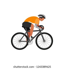 Cyclist with arm bioprosthesis on a white background. Sport Concept. Vector illustration.