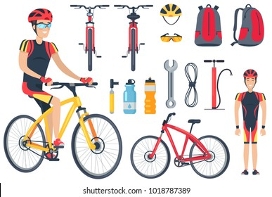 Cyclist and bicycle, tools set and icons of bottles, backpack and helmet with glasses, sport and leisure of man, vector illustration. Bicycle tools isolated on white