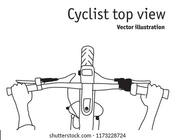 Cyclist and bicycle top view black and white