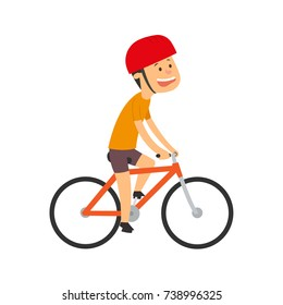 cyclist. the boy is riding a bicycle. vector illustration isolated on white background.