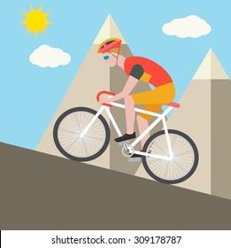 Cyclist climbing on a mountain, vector illustration
