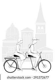 CYCLIST COUPLE. IN CITY.LINE