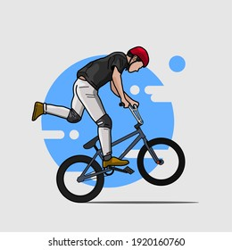 cyclist doing jumping. vector illustration. blue background. eps file