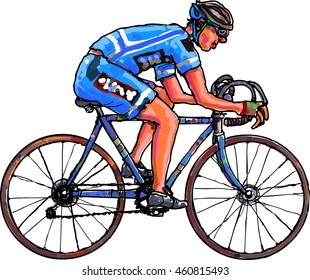 cyclist dressed in blue