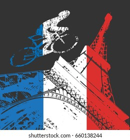 Cyclist and Eiffel tower silhouette in France flag colors