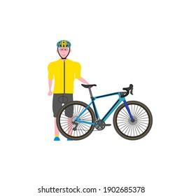 cyclist elderly man on white background