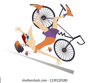 Cyclist falling down from the bicycle isolated illustration. Cyclist falling down from the bicycle isolated on white illustration vector