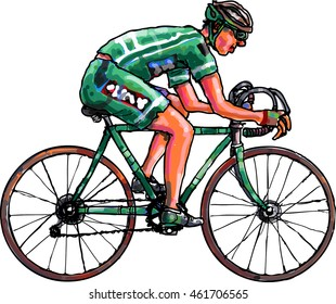cyclist in green suit