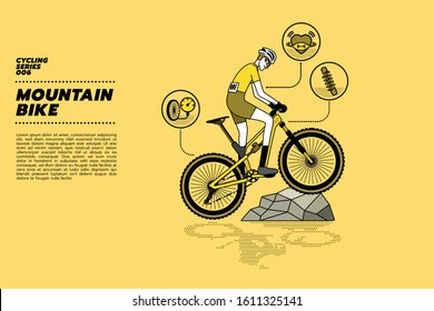 A cyclist on a modern full suspension mountain bike (MTB) climbing on a rock with heart rate and suspension shock absorber icons