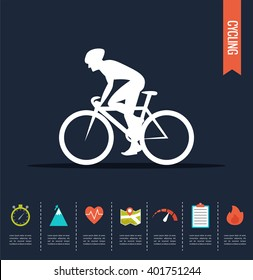 Cyclist on the sports bike.  Bicycle vector infographic