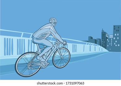 cyclist practicing sport with the city in the background