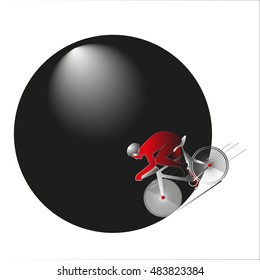 cyclist in a red suit on a black circle