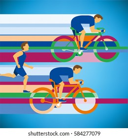 cyclist riding on bicycle on city, vector illustration and poster