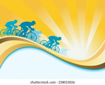 Cyclist riding in vector background