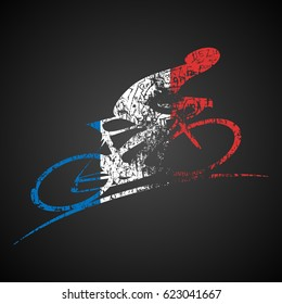 Cyclist silhouette. France flag