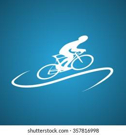 Cyclist silhouette logo design