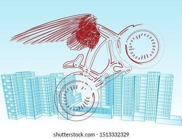 cyclist urban agains a town