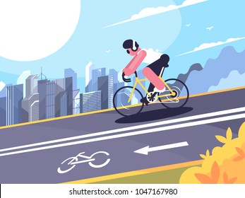 Cyclist wearing headphones on track for cyclists. Vector flat illustration