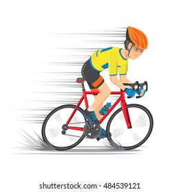 Cyclist wearing the yellow jersey with red road bikes. Speed line. Cartoon Vector illustration