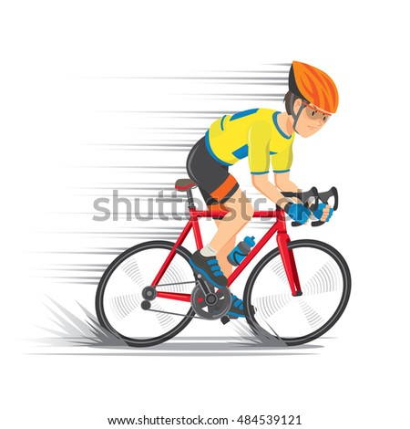 Cyclist wearing the yellow jersey with red road bikes. Speed line. Cartoon  Vector illustration d49c28fc9