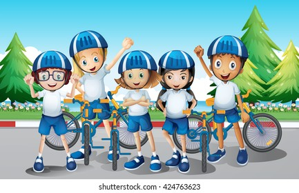 Cyclists and bike on the road illustration