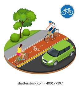Cyclists in city. Cycling on bike path. Bicycle road sign and bike riders. Flat 3d vector isometric illustration. People riding bikes. Fitness, sport, people and healthy lifestyle concept.