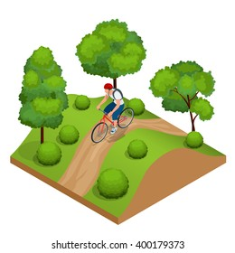 Cyclists in forest cycling on track from behind. Cyclists on bicycle. Riding bicycle outdoors at summer. Fitness, sport, people and healthy lifestyle concept. Flat 3d vector isometric illustration