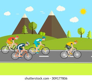 Cyclists group at professional race, vector illustration