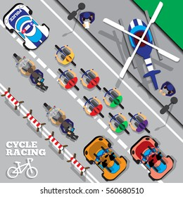 Cyclists group at professional race. View from above. Vector illustration.
