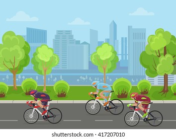 Cyclists men on road race bicycle racing in city park vector illustration. Competition concept.