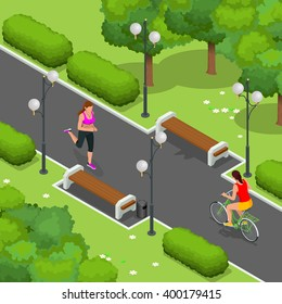 Cyclists on bicycle in park and woman running. Riding bicycle outdoors at summer.  Fitness, sport, people and healthy lifestyle concept. Flat 3d vector isometric illustration.
