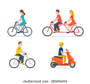 Cyclists riding bike set including tandem bicycle. Scooter rider, vector illustration