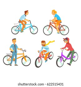 Cyclists riding bike set for label design. Lifestyle, sport, cycling, riding, relax. Colorful cartoon detailed Illustrations