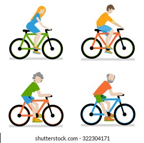 Cyclists riding bike set, vector illustration of a flat style.