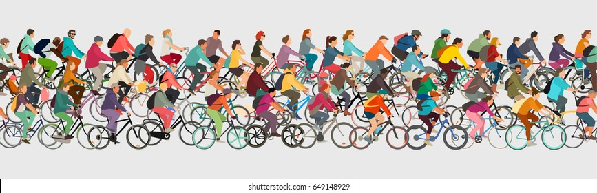 Cyclists seamless vector banner