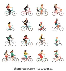 Cyclists set. Happy people riding bicycle family ride tandem bikes children woman men sports gear outdoor activity cartoon vector set